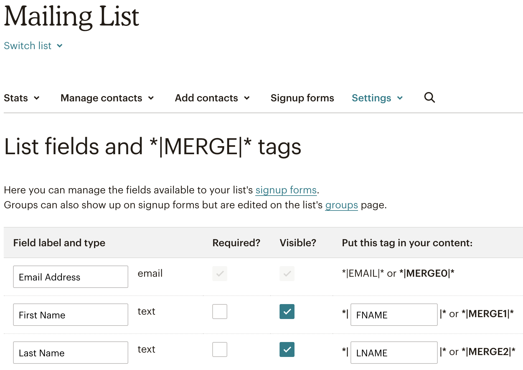Mailchimp merge fields